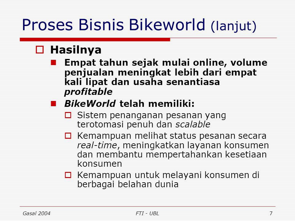 Gasal 2004FTI - UBL8 Proses Bisnis Bikeworld (lanjut)  Pelajaran yang bisa dipetik … Sebagaimana umumnya e-tailer, BikeWorld tidak memiliki pengalaman maupun sumberdaya untuk menangani pesanan-pesanan online Solusinya adalah dengan outsourcing fungsi tersebut ke FedEx, salah satu perusahaan logistik e-Commerce terbesar dunia