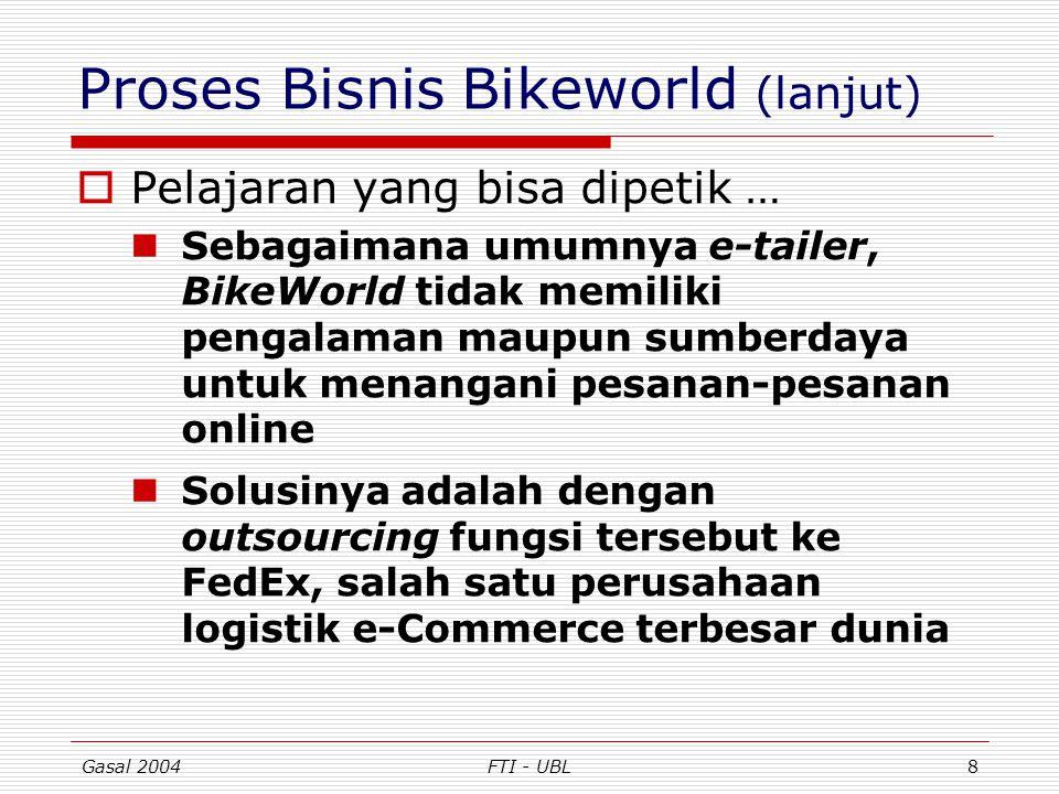 Gasal 2004FTI - UBL8 Proses Bisnis Bikeworld (lanjut)  Pelajaran yang bisa dipetik … Sebagaimana umumnya e-tailer, BikeWorld tidak memiliki pengalama