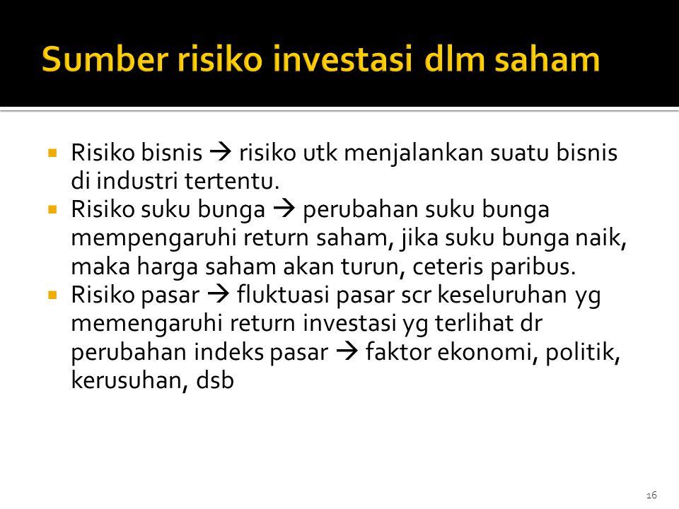  Risiko bisnis  risiko utk menjalankan suatu bisnis di industri tertentu.  Risiko suku bunga  perubahan suku bunga mempengaruhi return saham, jika