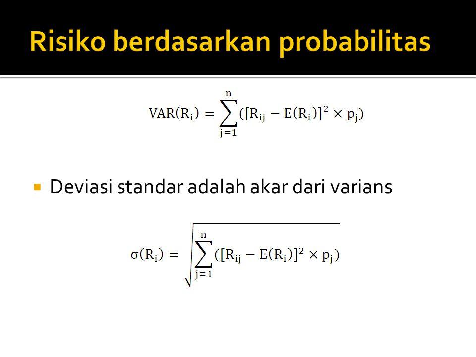  Deviasi standar adalah akar dari varians