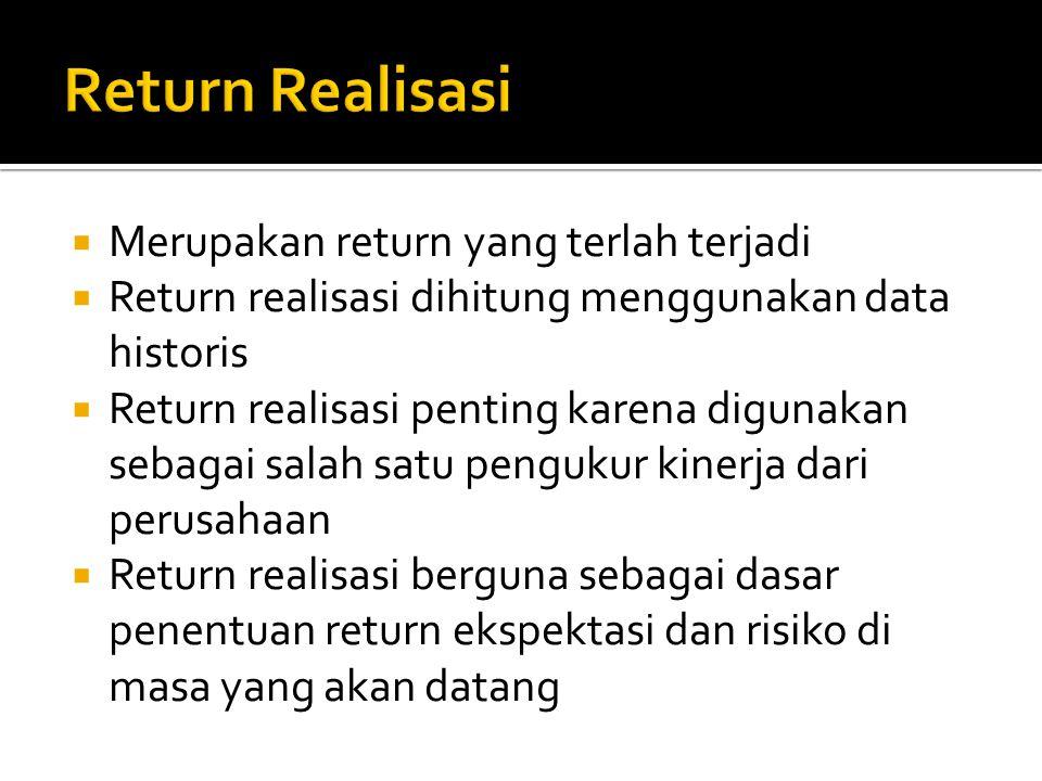  Merupakan return yang terlah terjadi  Return realisasi dihitung menggunakan data historis  Return realisasi penting karena digunakan sebagai salah