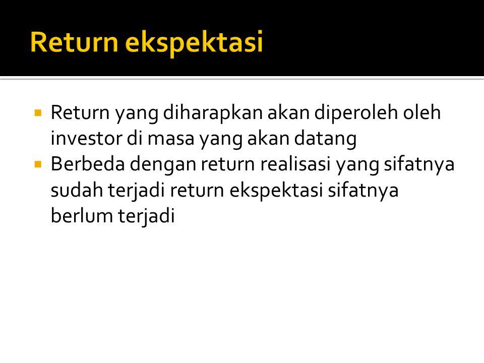  Return yang diharapkan akan diperoleh oleh investor di masa yang akan datang  Berbeda dengan return realisasi yang sifatnya sudah terjadi return ek