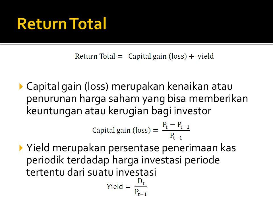  Capital gain (loss) merupakan kenaikan atau penurunan harga saham yang bisa memberikan keuntungan atau kerugian bagi investor  Yield merupakan pers