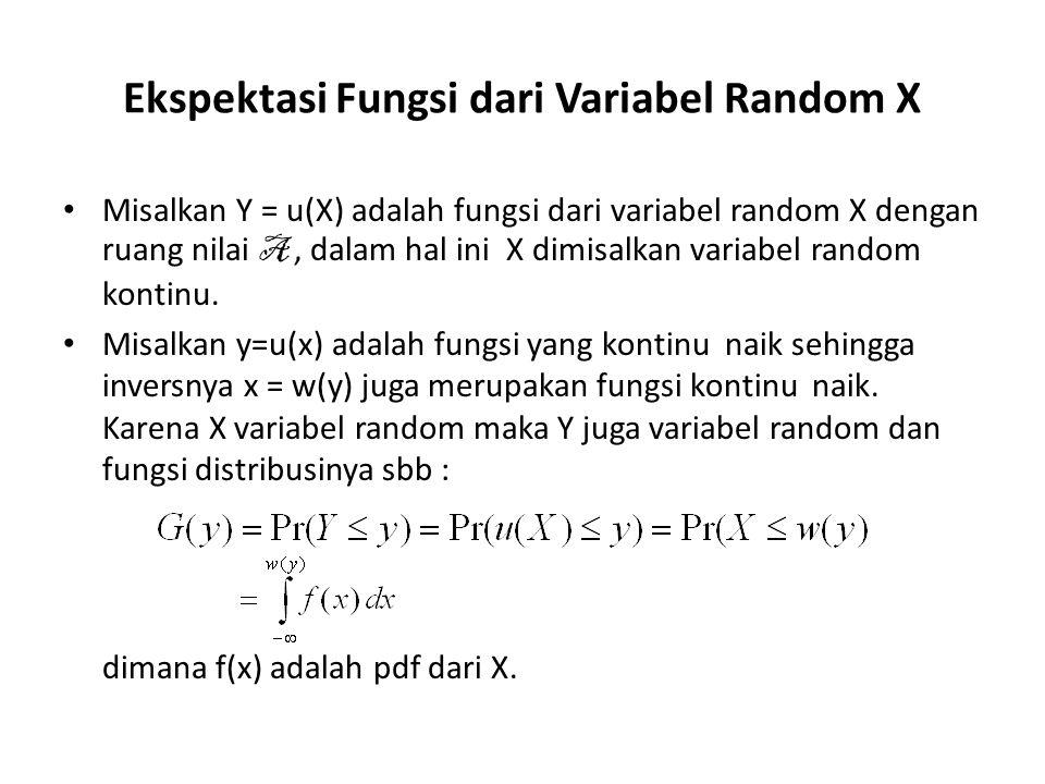 Ekspektasi Fungsi dari Variabel Random X Misalkan Y = u(X) adalah fungsi dari variabel random X dengan ruang nilai A, dalam hal ini X dimisalkan variabel random kontinu.