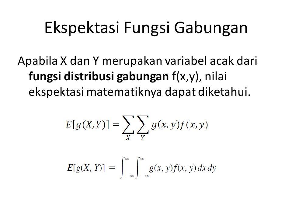 Ekspektasi Fungsi Gabungan Apabila X dan Y merupakan variabel acak dari fungsi distribusi gabungan f(x,y), nilai ekspektasi matematiknya dapat diketah