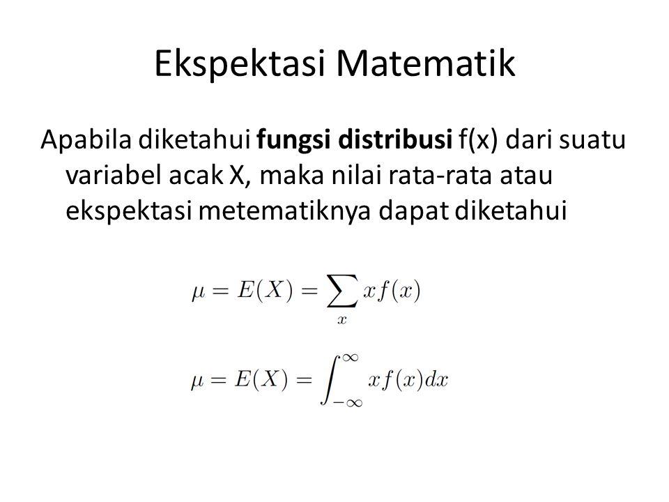 Ekspektasi Matematik Apabila diketahui fungsi distribusi f(x) dari suatu variabel acak X, maka nilai rata-rata atau ekspektasi metematiknya dapat dike