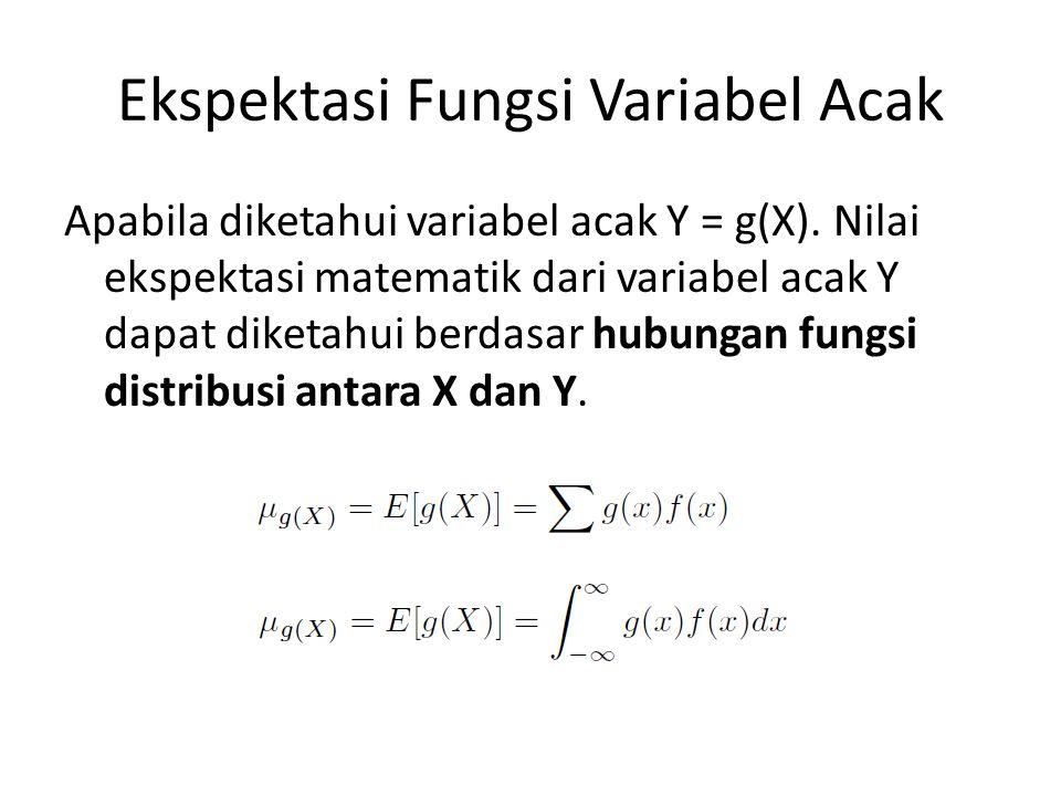 Ekspektasi Fungsi Variabel Acak Apabila diketahui variabel acak Y = g(X). Nilai ekspektasi matematik dari variabel acak Y dapat diketahui berdasar hub