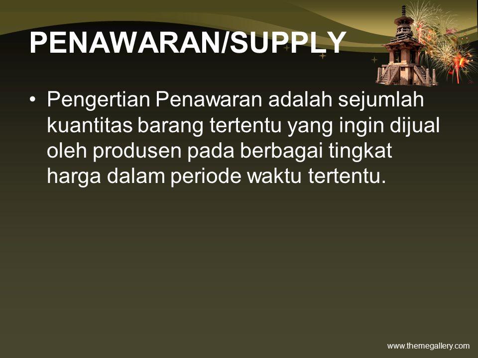 www.themegallery.com PENAWARAN/SUPPLY Pengertian Penawaran adalah sejumlah kuantitas barang tertentu yang ingin dijual oleh produsen pada berbagai tingkat harga dalam periode waktu tertentu.