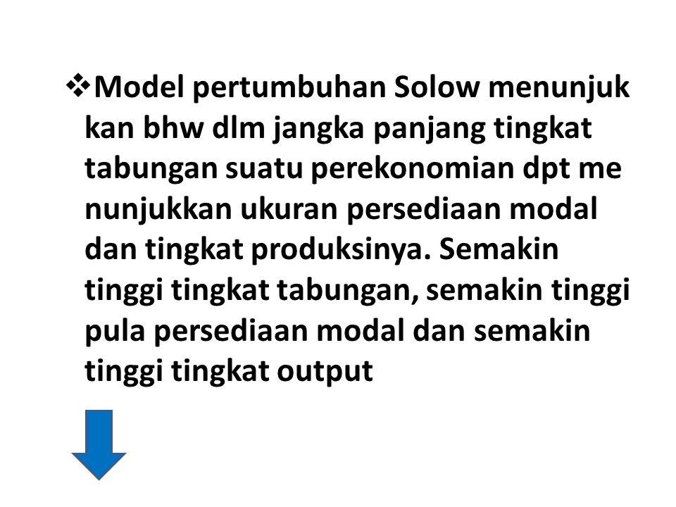  Model pertumbuhan Solow menunjuk kan bhw dlm jangka panjang tingkat tabungan suatu perekonomian dpt me nunjukkan ukuran persediaan modal dan tingkat