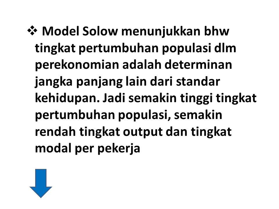  Model Solow menunjukkan bhw tingkat pertumbuhan populasi dlm perekonomian adalah determinan jangka panjang lain dari standar kehidupan. Jadi semakin