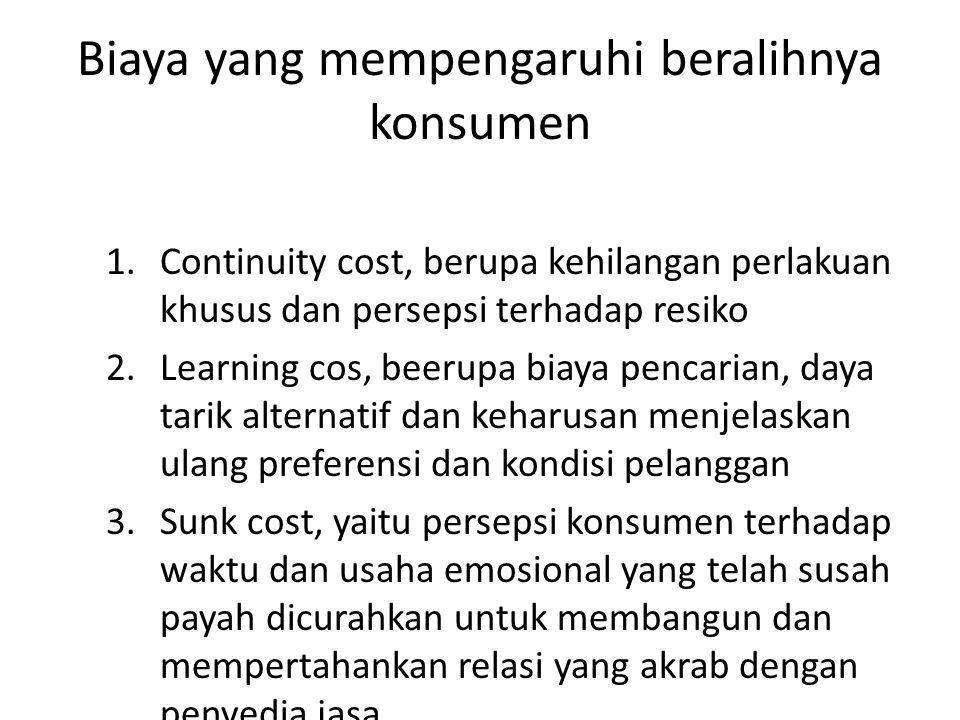 Biaya yang mempengaruhi beralihnya konsumen 1.Continuity cost, berupa kehilangan perlakuan khusus dan persepsi terhadap resiko 2.Learning cos, beerupa