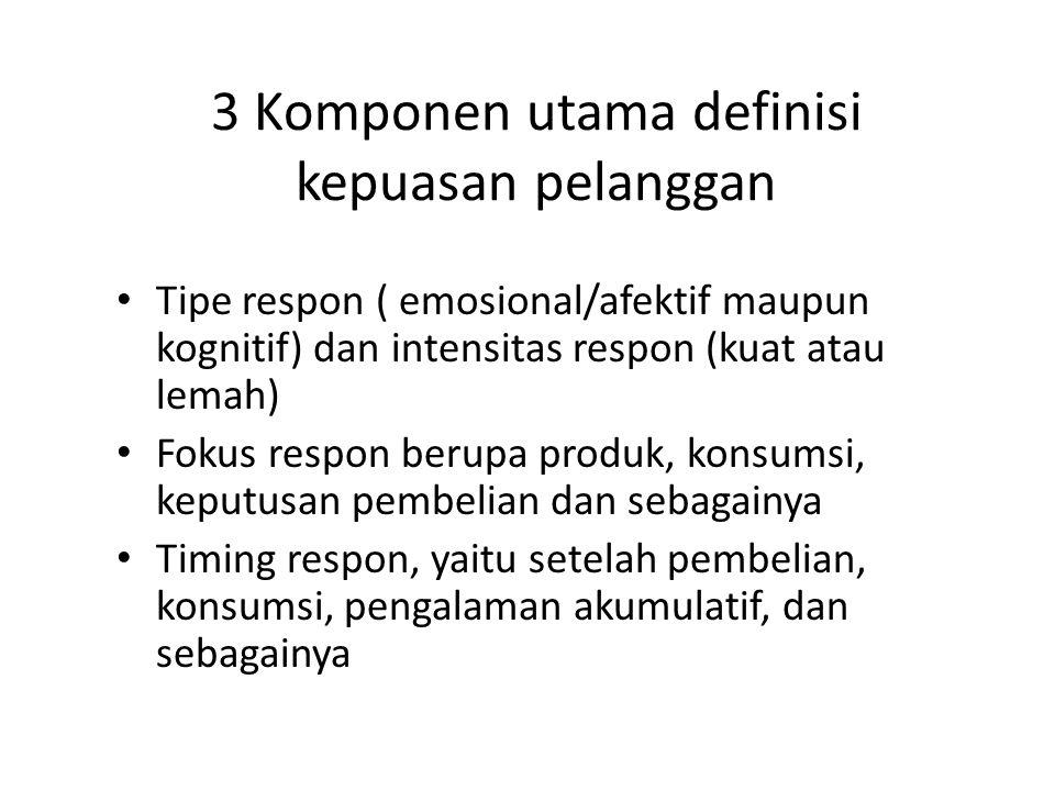 3 Komponen utama definisi kepuasan pelanggan Tipe respon ( emosional/afektif maupun kognitif) dan intensitas respon (kuat atau lemah) Fokus respon ber