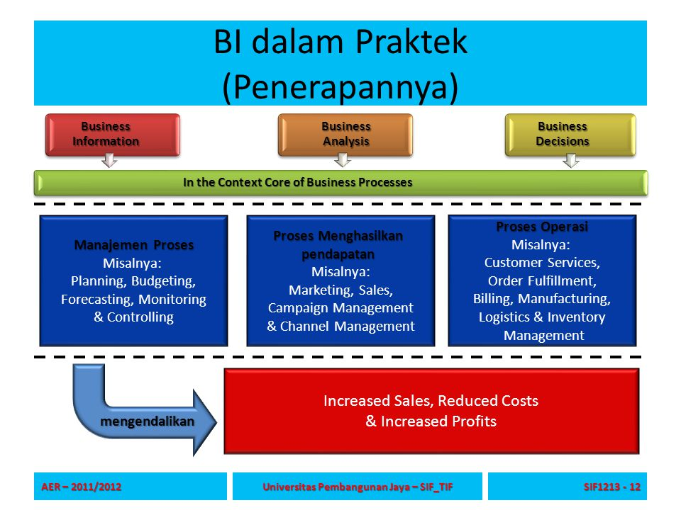 BI dalam Praktek (Penerapannya) Business Information Business Analysis Business Decisions In the Context Core of Business Processes AER – 2011/2012 Universitas Pembangunan Jaya – SIF_TIF SIF1213 - 12 Manajemen Proses Misalnya: Planning, Budgeting, Forecasting, Monitoring & Controlling Proses Menghasilkan pendapatan Misalnya: Marketing, Sales, Campaign Management & Channel Management Proses Operasi Misalnya: Customer Services, Order Fulfillment, Billing, Manufacturing, Logistics & Inventory Management Increased Sales, Reduced Costs & Increased Profits mengendalikan