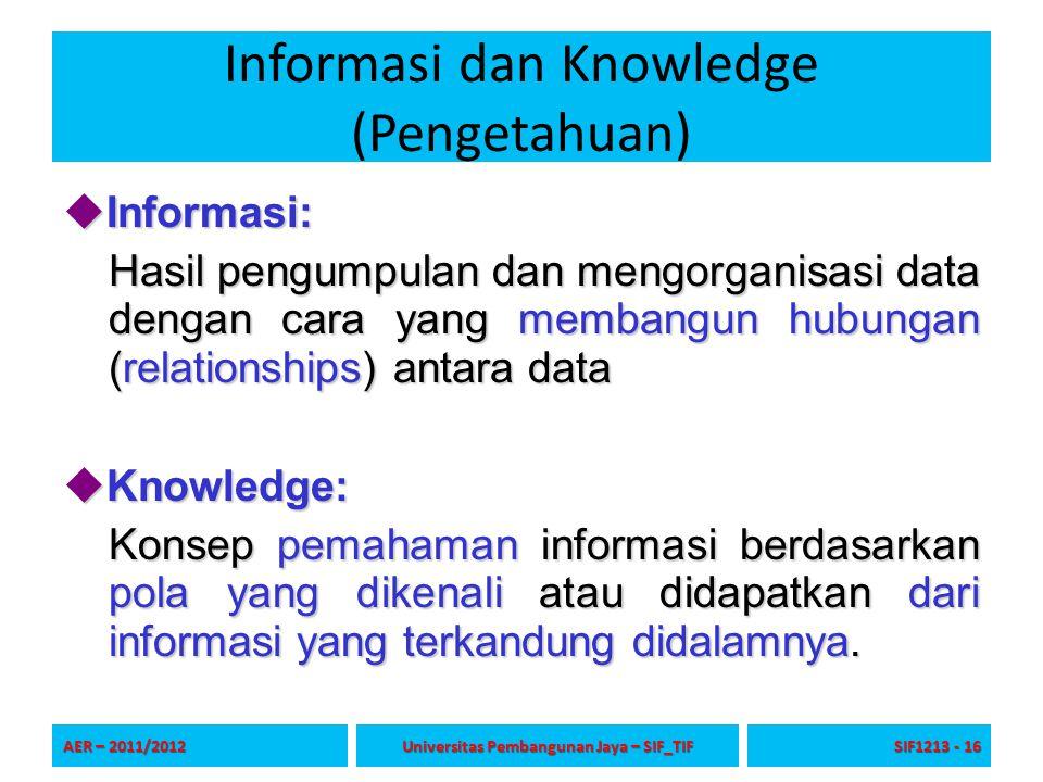 Informasi dan Knowledge (Pengetahuan)  Informasi: Hasil pengumpulan dan mengorganisasi data dengan cara yang membangun hubungan (relationships) antar