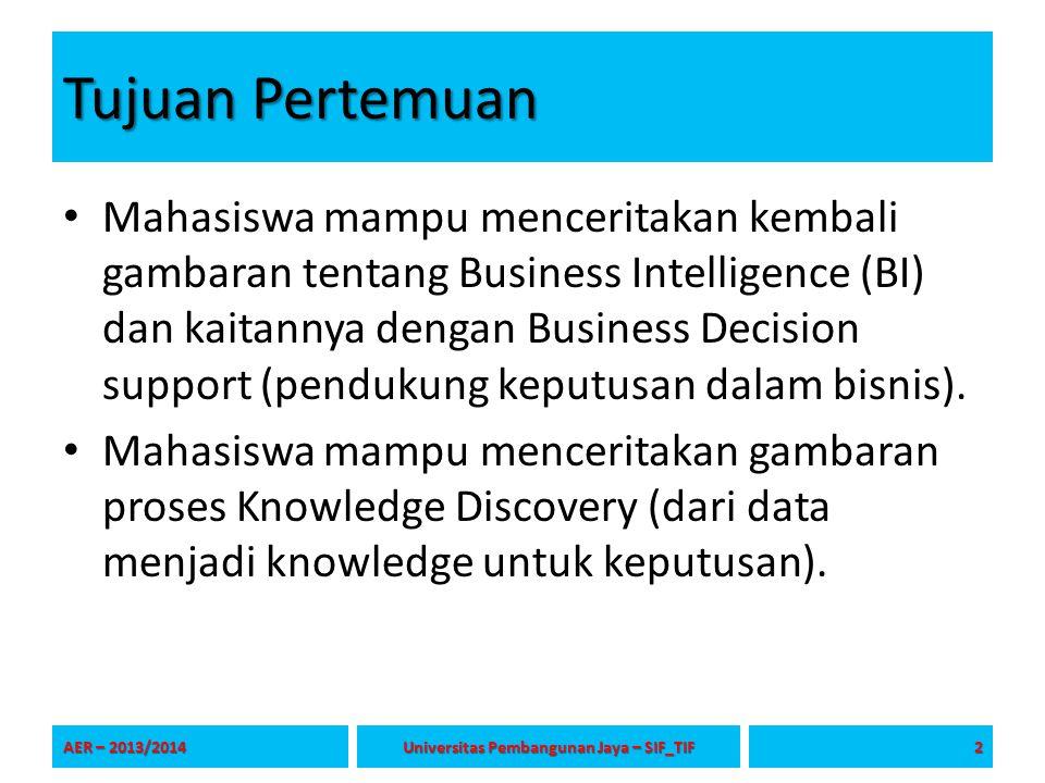 Tujuan Pertemuan Mahasiswa mampu menceritakan kembali gambaran tentang Business Intelligence (BI) dan kaitannya dengan Business Decision support (pend