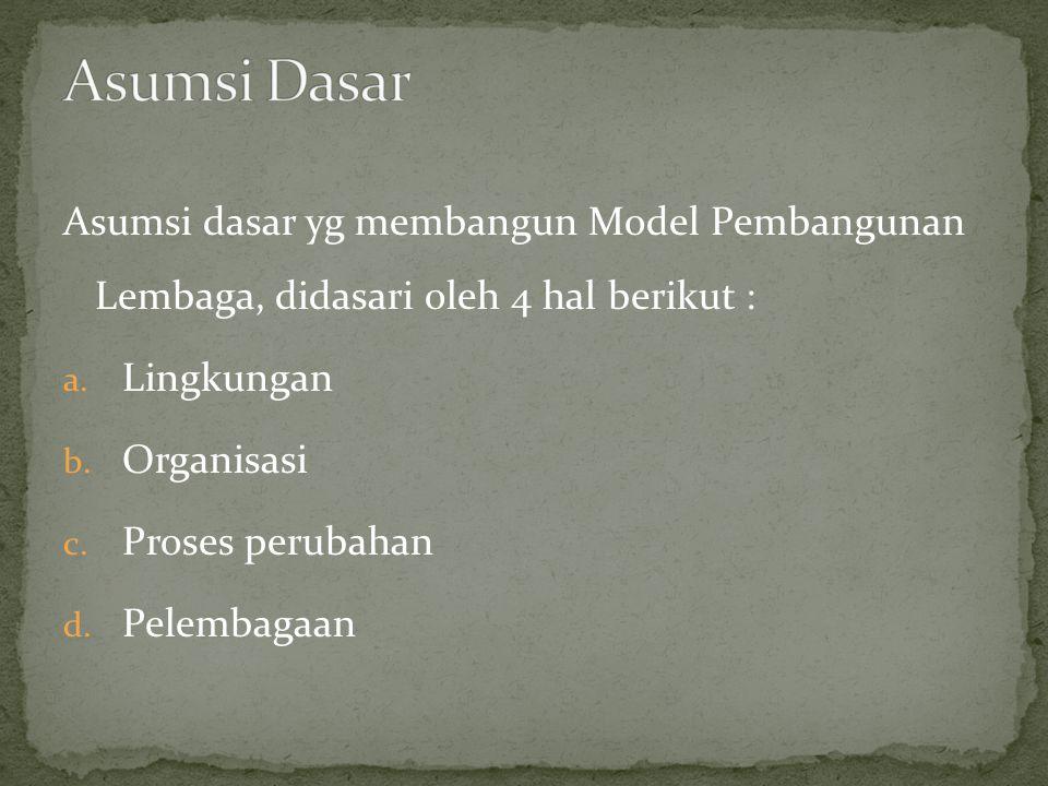 Asumsi dasar yg membangun Model Pembangunan Lembaga, didasari oleh 4 hal berikut : a.