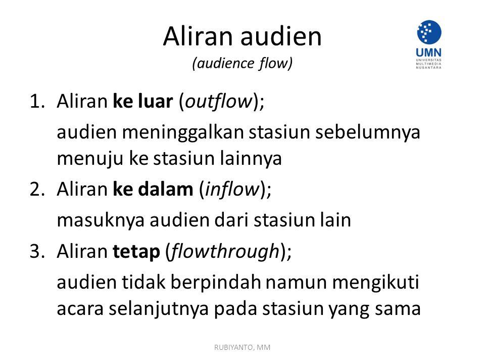 Aliran audien (audience flow) 1.Aliran ke luar (outflow); audien meninggalkan stasiun sebelumnya menuju ke stasiun lainnya 2. Aliran ke dalam (inflow)