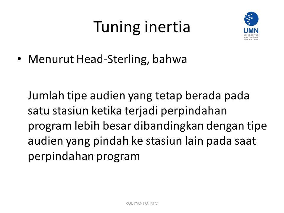 Tuning inertia Menurut Head-Sterling, bahwa Jumlah tipe audien yang tetap berada pada satu stasiun ketika terjadi perpindahan program lebih besar diba