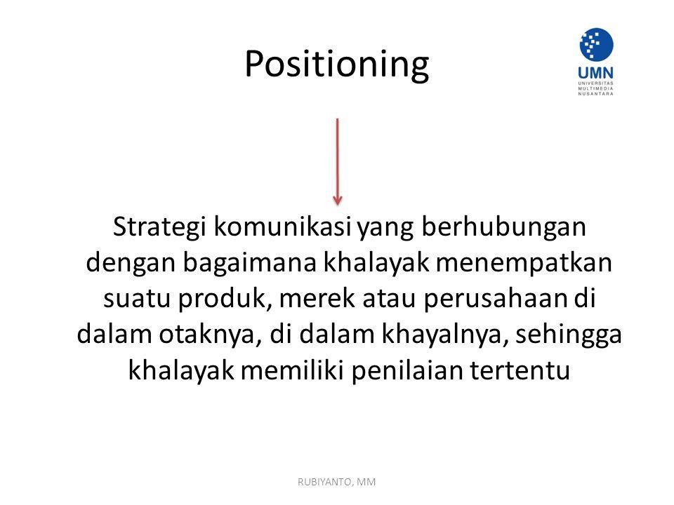 Positioning Strategi komunikasi yang berhubungan dengan bagaimana khalayak menempatkan suatu produk, merek atau perusahaan di dalam otaknya, di dalam