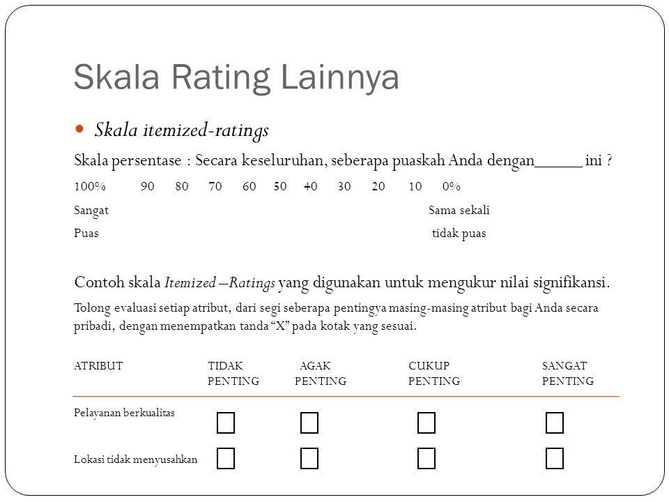 Skala Rating Lainnya Skala itemized-ratings Skala persentase : Secara keseluruhan, seberapa puaskah Anda dengan_____ ini ? 100%90 80 70 60 50 40 30 20