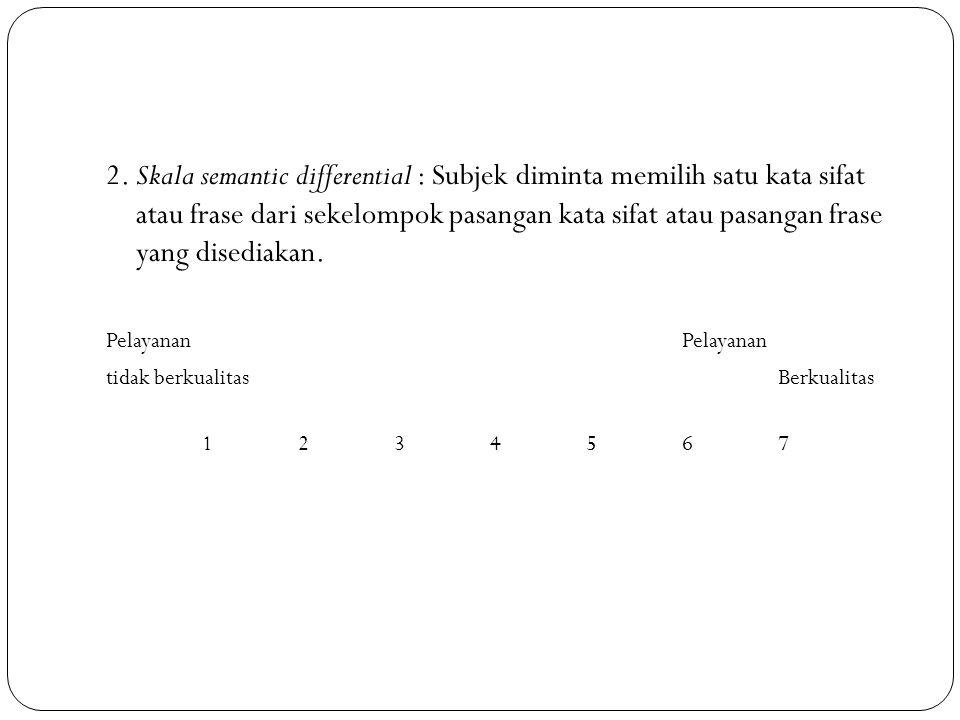 2. Skala semantic differential : Subjek diminta memilih satu kata sifat atau frase dari sekelompok pasangan kata sifat atau pasangan frase yang disedi
