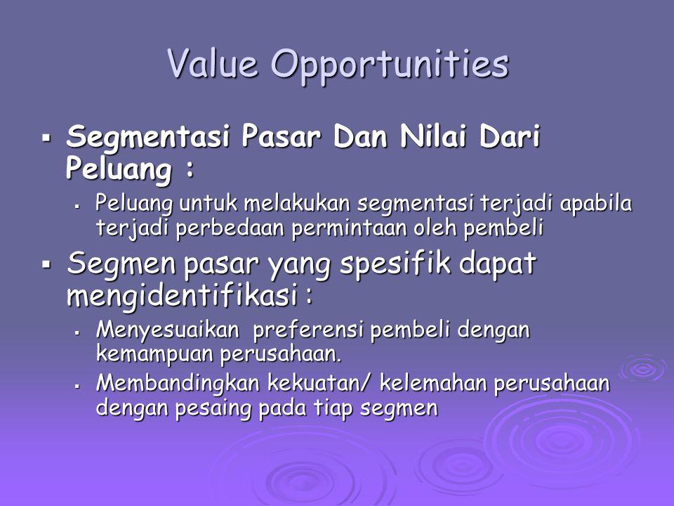 Value Opportunities  Segmentasi Pasar Dan Nilai Dari Peluang :  Peluang untuk melakukan segmentasi terjadi apabila terjadi perbedaan permintaan oleh