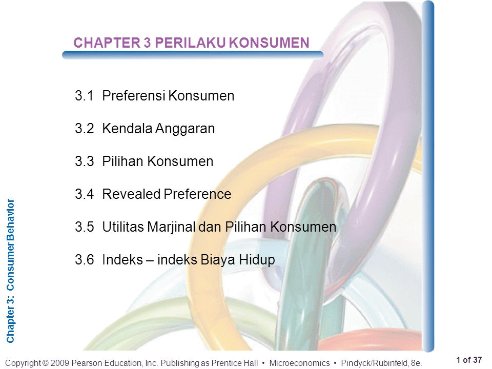 Chapter 3: Consumer Behavior 1 of 37 Copyright © 2009 Pearson Education, Inc. Publishing as Prentice Hall Microeconomics Pindyck/Rubinfeld, 8e. CHAPTE