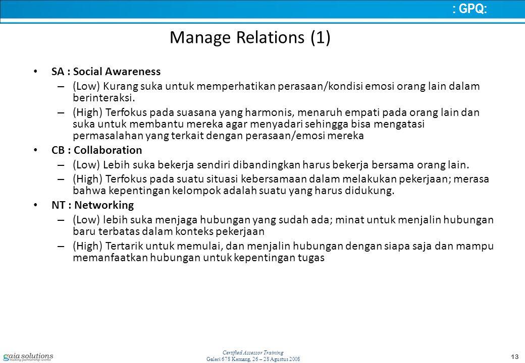 13 Certified Assessor Training Galeri 678 Kemang, 26 – 28 Agustus 2008 Manage Relations (1) SA : Social Awareness – (Low) Kurang suka untuk memperhatikan perasaan/kondisi emosi orang lain dalam berinteraksi.