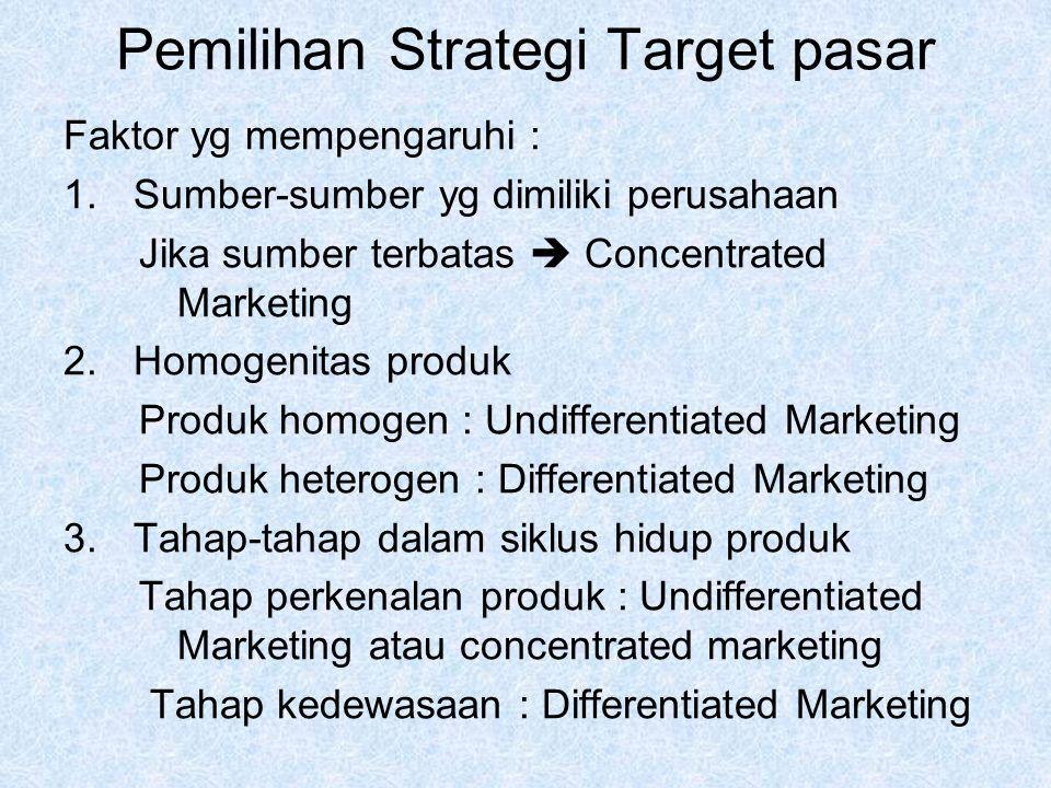 Pemilihan Strategi Target pasar Faktor yg mempengaruhi : 1.Sumber-sumber yg dimiliki perusahaan Jika sumber terbatas  Concentrated Marketing 2.Homoge