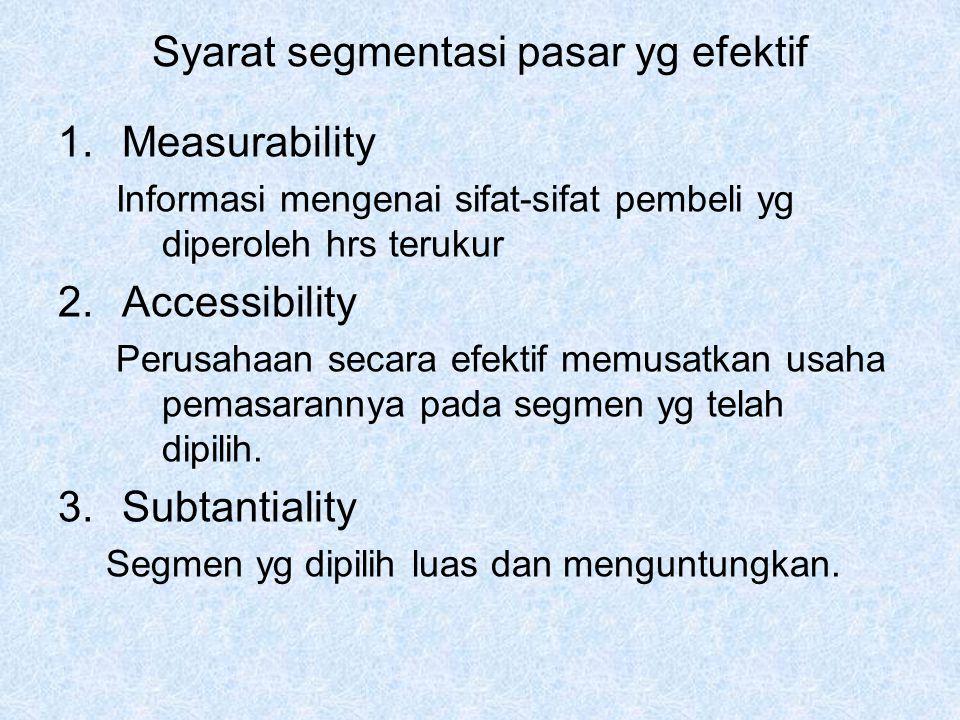 Syarat segmentasi pasar yg efektif 1.Measurability Informasi mengenai sifat-sifat pembeli yg diperoleh hrs terukur 2.Accessibility Perusahaan secara efektif memusatkan usaha pemasarannya pada segmen yg telah dipilih.
