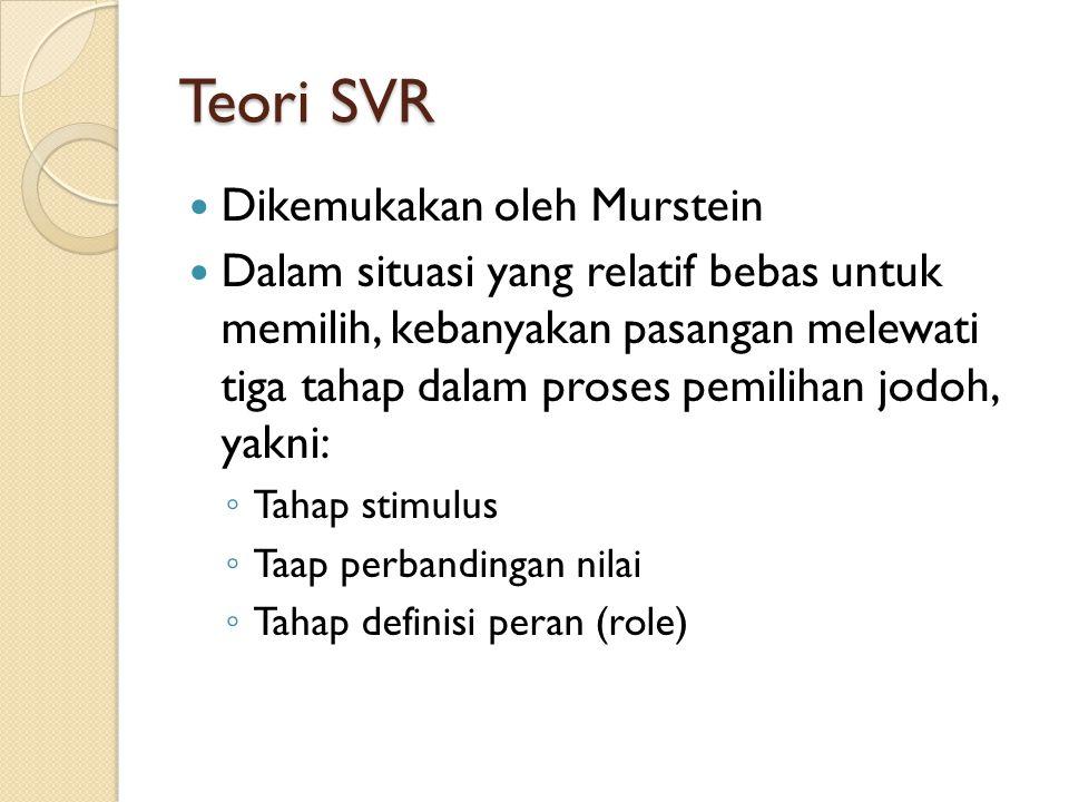 Teori SVR Dikemukakan oleh Murstein Dalam situasi yang relatif bebas untuk memilih, kebanyakan pasangan melewati tiga tahap dalam proses pemilihan jodoh, yakni: ◦ Tahap stimulus ◦ Taap perbandingan nilai ◦ Tahap definisi peran (role)