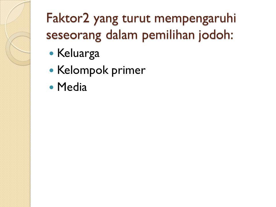 Faktor2 yang turut mempengaruhi seseorang dalam pemilihan jodoh: Keluarga Kelompok primer Media
