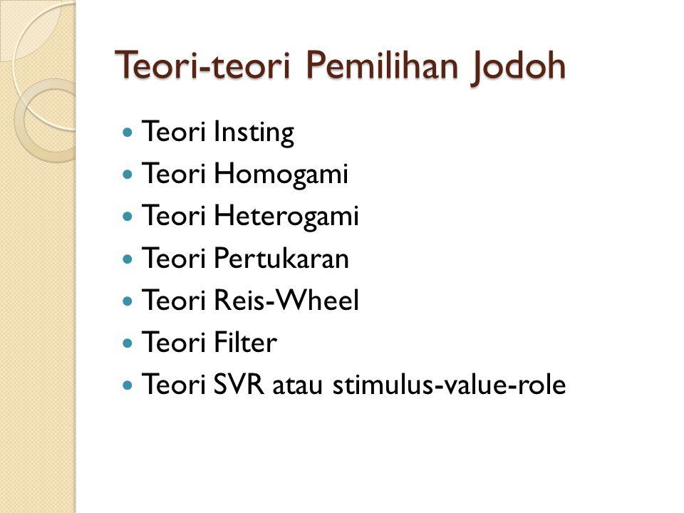 Teori-teori Pemilihan Jodoh Teori Insting Teori Homogami Teori Heterogami Teori Pertukaran Teori Reis-Wheel Teori Filter Teori SVR atau stimulus-value-role