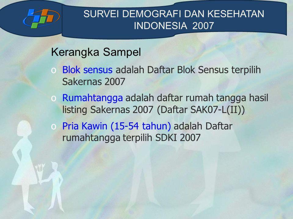 Kerangka Sampel oBlok sensus adalah Daftar Blok Sensus terpilih Sakernas 2007 oRumahtangga adalah daftar rumah tangga hasil listing Sakernas 2007 (Daftar SAK07-L(II)) oPria Kawin (15-54 tahun) adalah Daftar rumahtangga terpilih SDKI 2007 SURVEI DEMOGRAFI DAN KESEHATAN INDONESIA 2007
