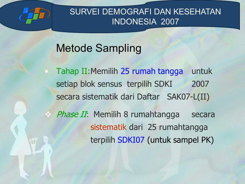 Metode Sampling Tahap II:Memilih 25 rumah tangga untuk setiap blok sensus terpilih SDKI 2007 secara sistematik dari Daftar SAK07-L(II)  Phase II: Memilih 8 rumahtangga secara sistematik dari 25 rumahtangga terpilih SDKI07 (untuk sampel PK) SURVEI DEMOGRAFI DAN KESEHATAN INDONESIA 2007