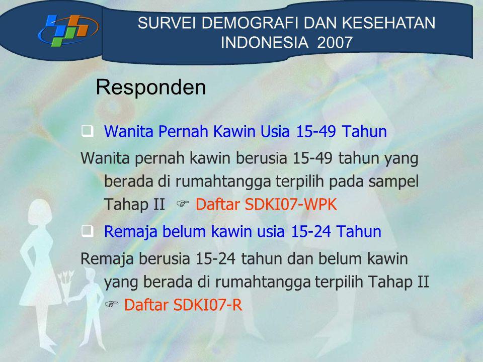 Responden  Wanita Pernah Kawin Usia 15-49 Tahun Wanita pernah kawin berusia 15-49 tahun yang berada di rumahtangga terpilih pada sampel Tahap II  Da