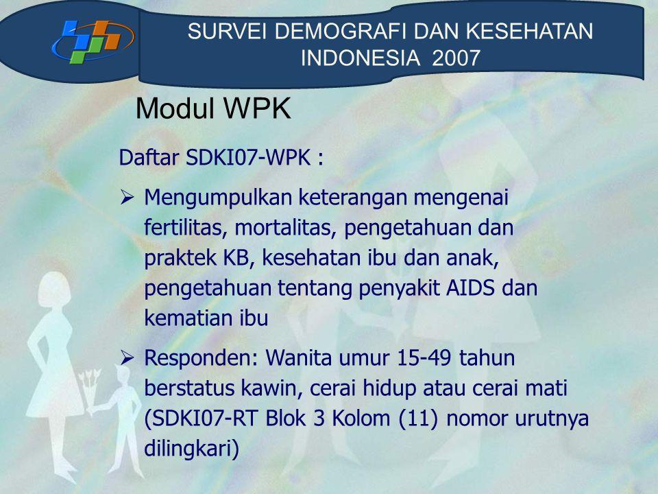 Modul WPK Daftar SDKI07-WPK :  Mengumpulkan keterangan mengenai fertilitas, mortalitas, pengetahuan dan praktek KB, kesehatan ibu dan anak, pengetahu