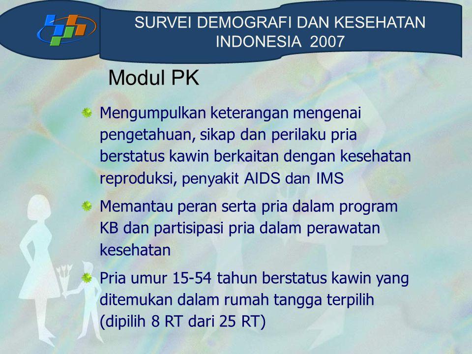 Modul PK Mengumpulkan keterangan mengenai pengetahuan, sikap dan perilaku pria berstatus kawin berkaitan dengan kesehatan reproduksi, penyakit AIDS da