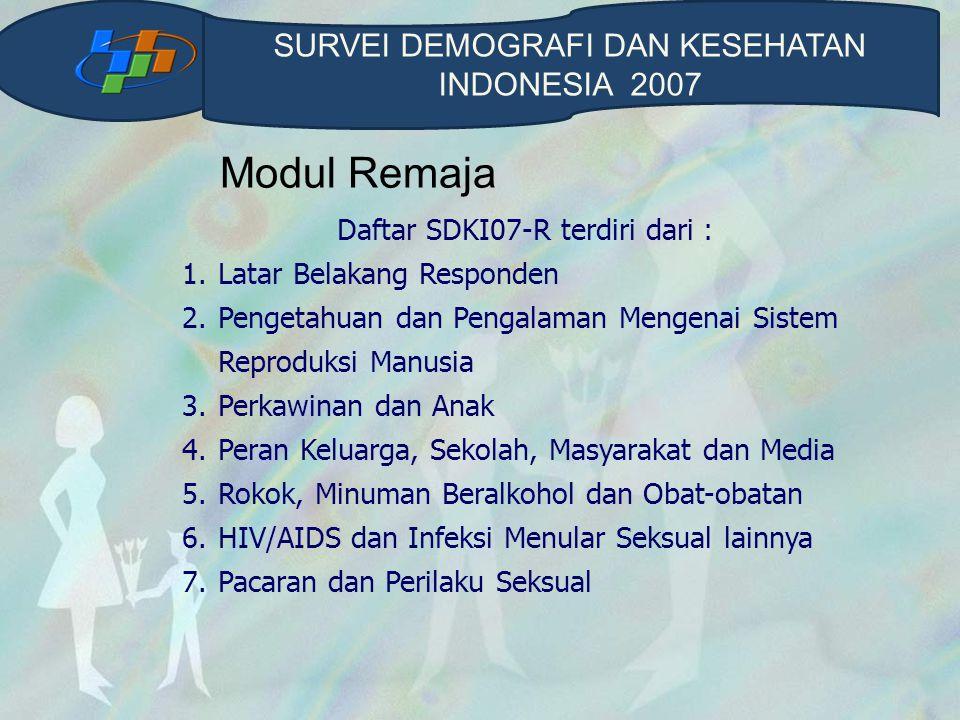 Modul Remaja Daftar SDKI07-R terdiri dari : 1.Latar Belakang Responden 2.Pengetahuan dan Pengalaman Mengenai Sistem Reproduksi Manusia 3.Perkawinan da