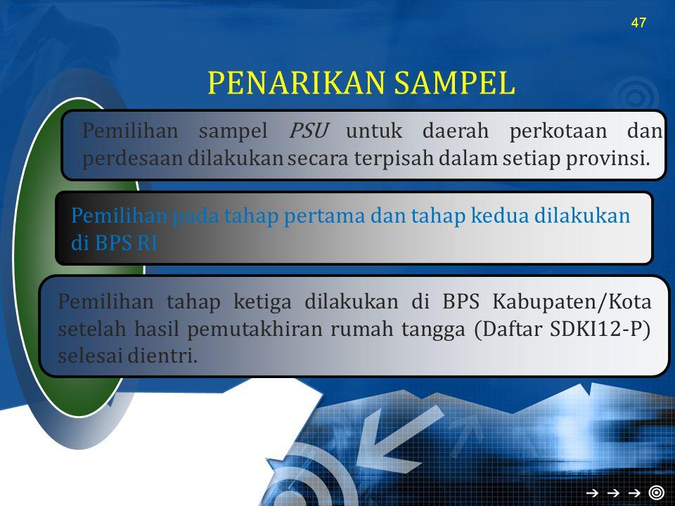 PENARIKAN SAMPEL 47 Pemilihan sampel PSU untuk daerah perkotaan dan perdesaan dilakukan secara terpisah dalam setiap provinsi. Pemilihan pada tahap pe