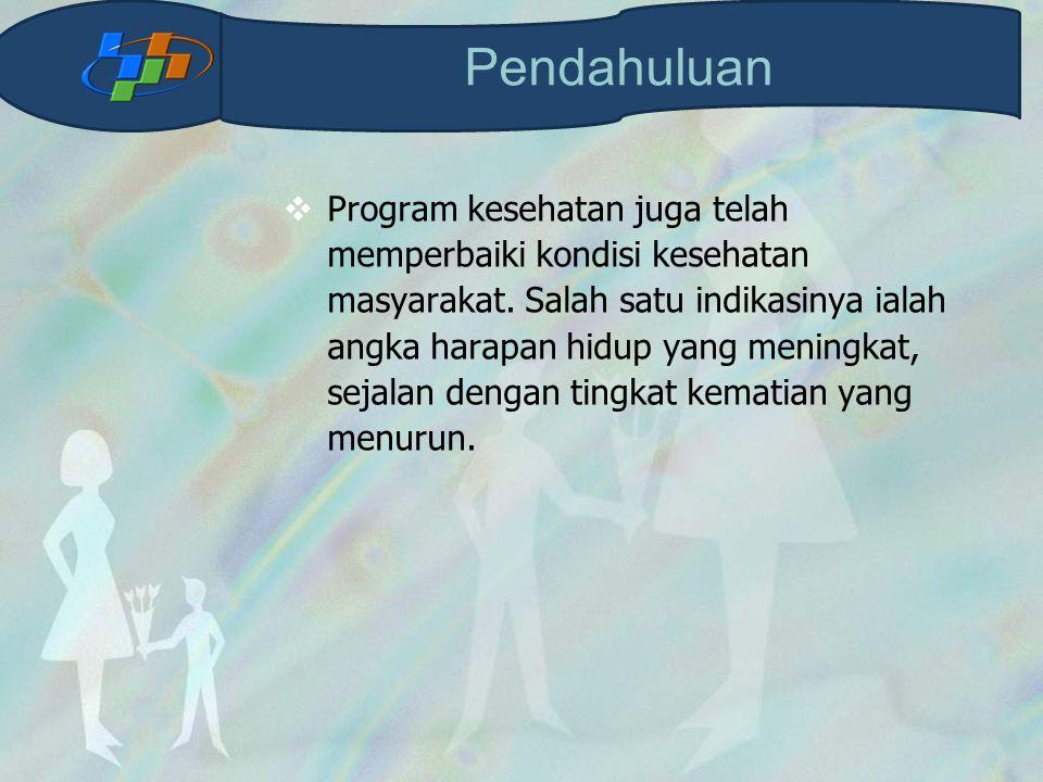  Program kesehatan juga telah memperbaiki kondisi kesehatan masyarakat. Salah satu indikasinya ialah angka harapan hidup yang meningkat, sejalan deng