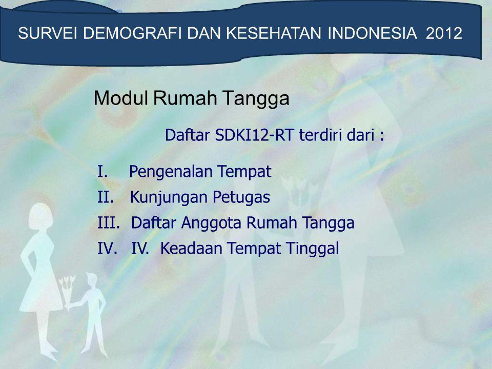 Modul Rumah Tangga Daftar SDKI12-RT terdiri dari : I.