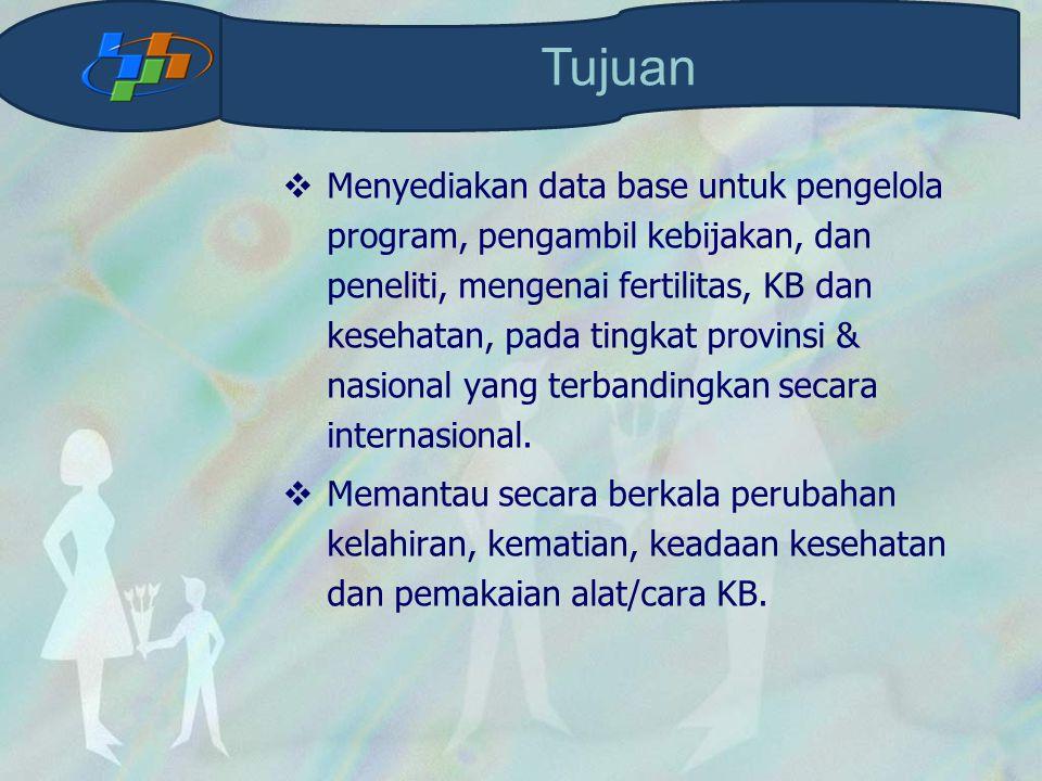 Menyediakan data base untuk pengelola program, pengambil kebijakan, dan peneliti, mengenai fertilitas, KB dan kesehatan, pada tingkat provinsi & nas