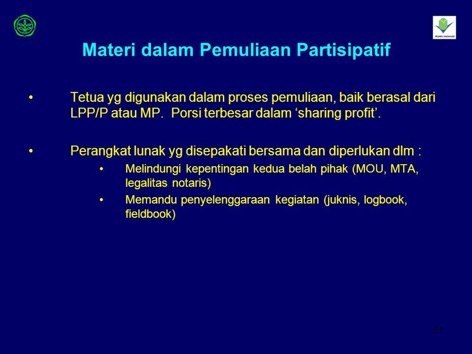 21 Materi dalam Pemuliaan Partisipatif Tetua yg digunakan dalam proses pemuliaan, baik berasal dari LPP/P atau MP.