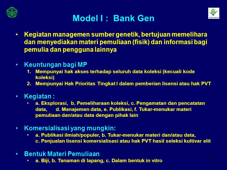 27 Model I : Bank Gen Kegiatan managemen sumber genetik, bertujuan memelihara dan menyediakan materi pemuliaan (fisik) dan informasi bagi pemulia dan pengguna lainnya Keuntungan bagi MP 1.