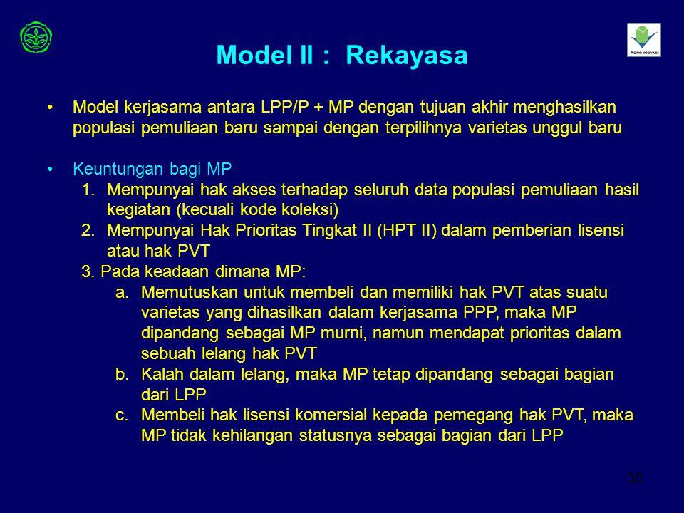 30 Model II : Rekayasa Model kerjasama antara LPP/P + MP dengan tujuan akhir menghasilkan populasi pemuliaan baru sampai dengan terpilihnya varietas unggul baru Keuntungan bagi MP 1.