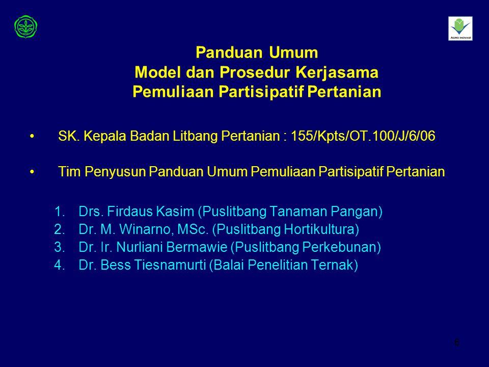 6 Panduan Umum Model dan Prosedur Kerjasama Pemuliaan Partisipatif Pertanian SK.
