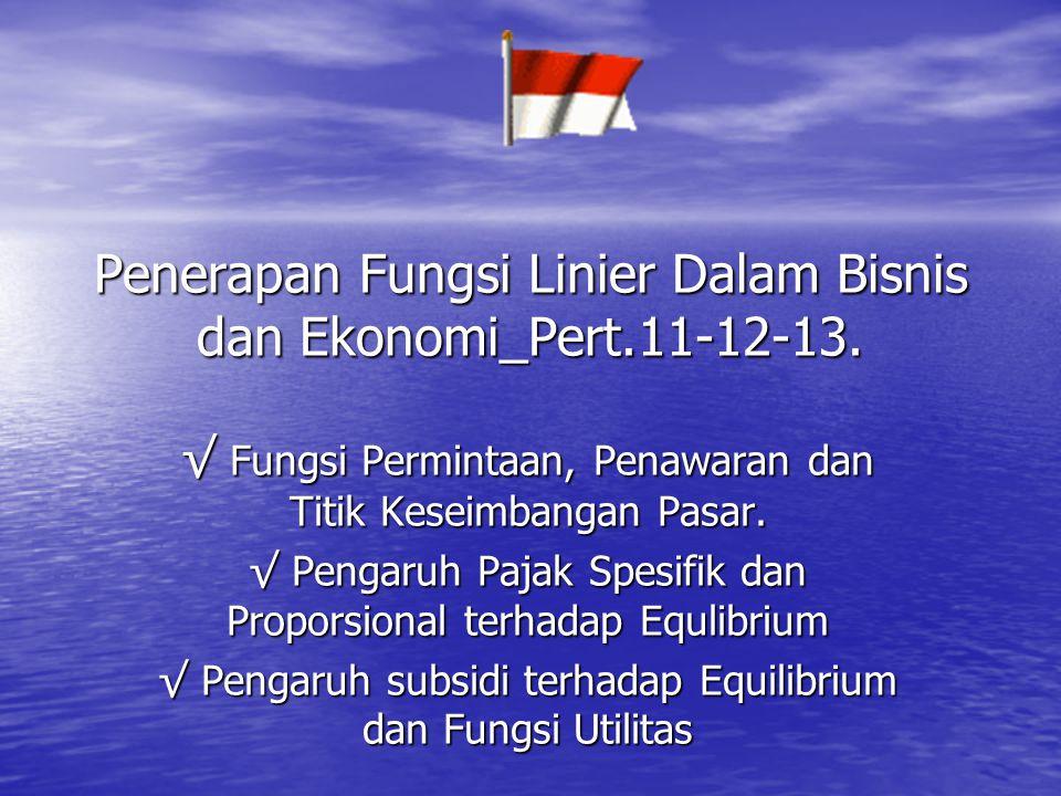Penerapan Fungsi Linier Dalam Bisnis dan Ekonomi_Pert.11-12-13. √ Fungsi Permintaan, Penawaran dan Titik Keseimbangan Pasar. √ Pengaruh Pajak Spesifik