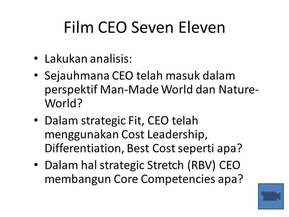 Film CEO Seven Eleven Lakukan analisis: Sejauhmana CEO telah masuk dalam perspektif Man-Made World dan Nature- World? Dalam strategic Fit, CEO telah m