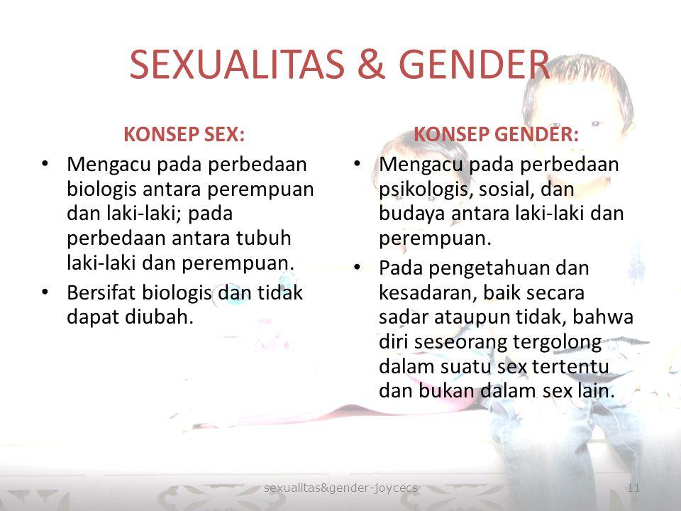 SEXUALITAS & GENDER KONSEP SEX: Mengacu pada perbedaan biologis antara perempuan dan laki-laki; pada perbedaan antara tubuh laki-laki dan perempuan. B